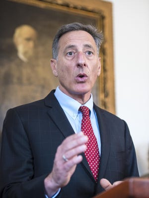 Gov. Peter Shumlin speaks at a news conference at the Statehouse in Montpelier on Tuesday, April 14.