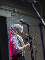 Lena Ginawi of Muslim Girls Making Change performs at ArtsRiot in Burlington on Tuesday, May 24, 2016.