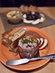 Pork rillette with bread, apples and apple butter at the Lost Nation Brewing's taproom in Morrisville.