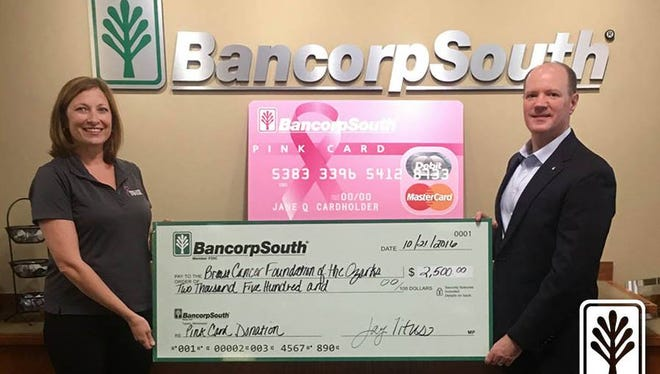 BancorpSouth's Pink Card program is designed to support breast cancer awareness by donating one cent per purchase transaction from activated Pink Cards.
