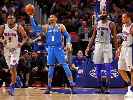 NBA: Oklahoma City Thunder at Detroit Pistons