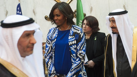 Saudi King Salman and U.S. first lady Michelle Obama
