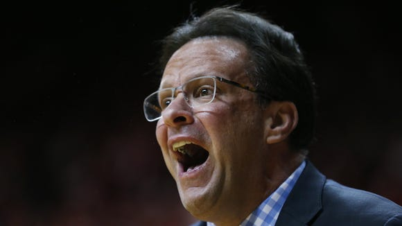 Hoosiers coach Tom Crean yells to get his team's attention in the first half. Indiana hosted Purdue at Assembly Hall on February 19, 2015.