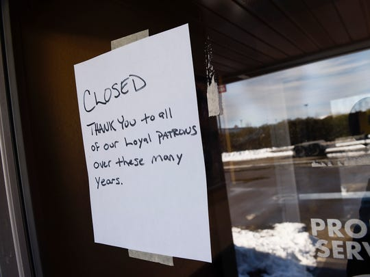 A closed sign in the window at Sammy's Pizza & Restaurant thanks customers Monday, Feb. 26, at 58 Division St. W in Waite Park.