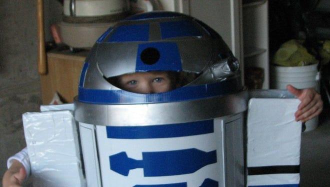 A homemade R2-D2 costume