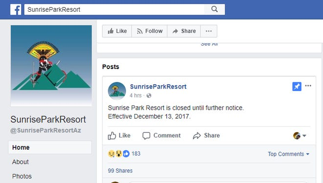 Sunrise Park Resort's Facebook page reads that the resort will not be opening on Friday.