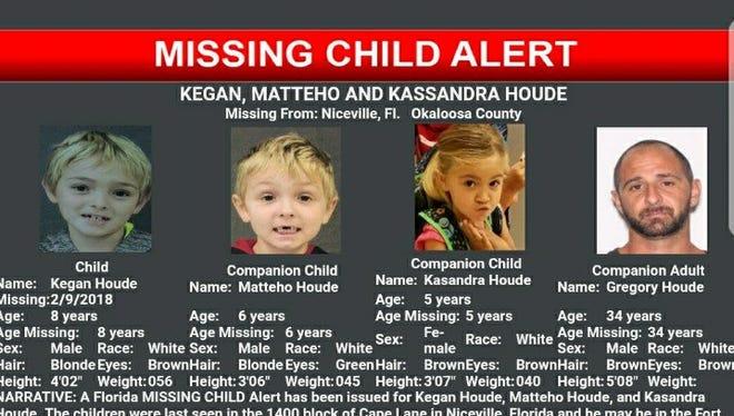 A missing children alert has been sent out for three Niceville children.