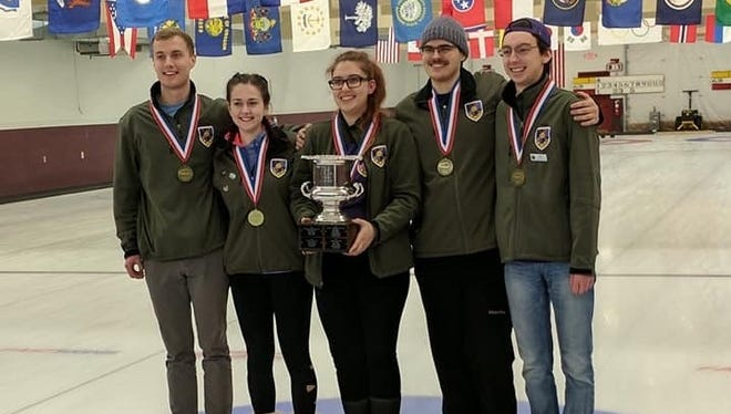 The Curling Association of UWSP won its second College Curling National Championship last weekend. From left: Lorenzo Smith, Cassie Strebe, Megan Banaski, Logan Ebert and Noah Behling.