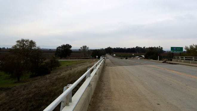 A section of road along County Road 17 from the Interstate 5 overpass in Redding, Calif., shown on Friday, Nov. 25, 2016, is where Sherry Papini, a 34-year-old wife and mother was found on Thanksgiving Day. Authorities are looking for two armed women they believe abducted Papini on Nov. 2.