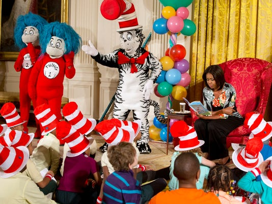 Michelle Obama, Cat in the Hat, Thing 1, Thing 2