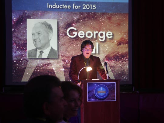 Justin Humphreys, author of the late George Pal's authorized biography, accepted Pal's induction award on his behalf at the induction ceremony for the NMMSH International Space Hall of Fame Oct. 3 in Alamogordo.