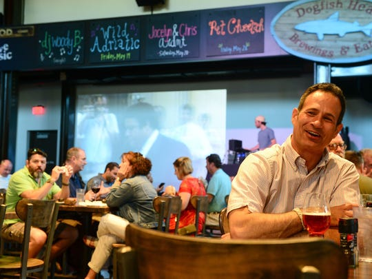 Sam Calagione, founder of Dogfish Head Craft Brewery and 2017 James Beard Award winner, at his Rehoboth Beach brewpub.