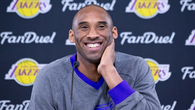 Russ Isabella-USA TODAY Sports Los Angeles Lakers forward Kobe Bryant talks with the media during a press conference prior to the game against the Utah Jazz at Vivint Smart Home Arena on Jan. 16. Jan 16, 2016; Salt Lake City, UT, USA; Los Angeles Lakers forward Kobe Bryant talks with the media during a press conference prior to the game against the Utah Jazz at Vivint Smart Home Arena. Mandatory Credit: Russ Isabella-USA TODAY Sports