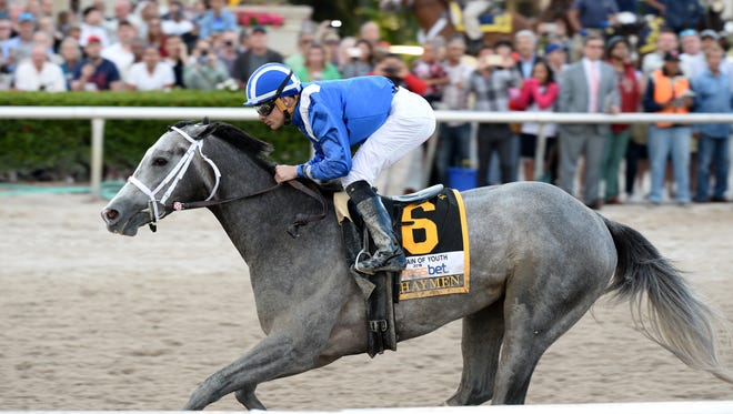 Mohaymen skipped to another win Saturday in the Grade II Fountain of Youth at Gulfstream Park.