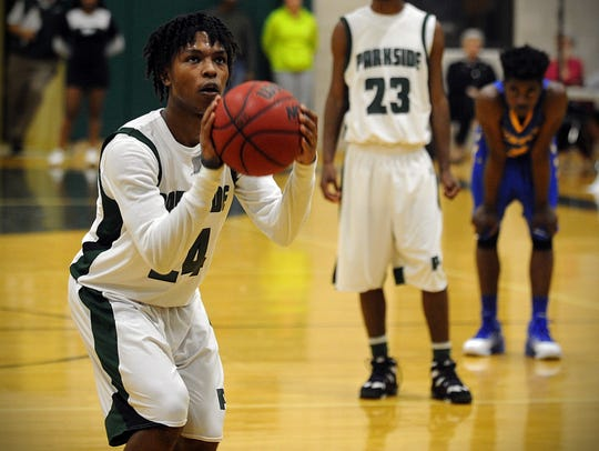 Parkside's Jalen Deloach takes a free throw on Monday,