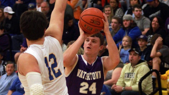 Watertown's Seth Price shoots during Saturday's District 8-A championship win against Goodpasture.