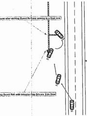 An illustration of Hannah Eimers' Nov. 1 fatal crash, included in the Tennessee Highway Patrol's crash report