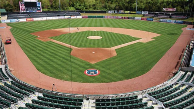 Smokies Stadium outside Knoxville in Sevier County contnues to mow and maintain its field.