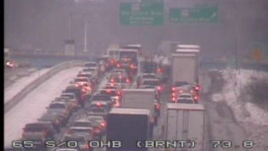 A look at Interstate 65 north at Old Hickory Boulevard after a crash Wednesday morning closed the interstate.