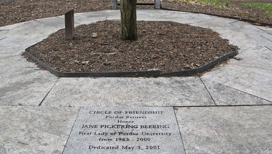 A tribute to Jane Beering, first lady of Purdue University from 1983-2000, sits near the top of Slayter Hill on the campus of Purdue University. The area, near the grave of David Ross, is where Jane Beering will be buried. After John Purdue and David Ross, Beering, who died March 9, will be only the third person buried on Purdue's campus, and the first in more than 70 years.