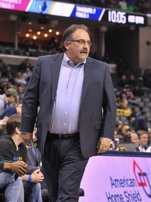Pistons coach Stan Van Gundy during the first half against the Grizzlies on Sunday, April 8, 2018, in Memphis, Tenn.