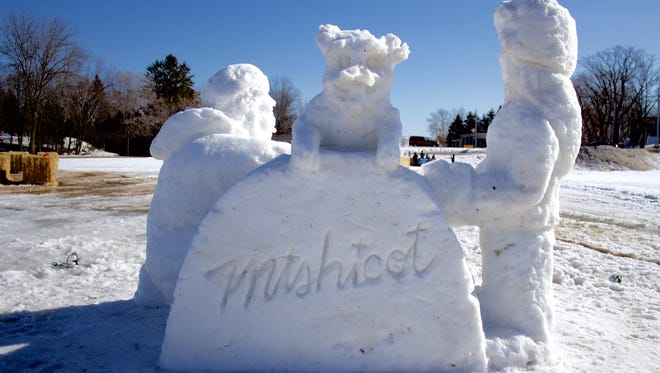 A gigantic snow sculpture created by Michael J. Sponholtz and Team USA bronze medalists headlined Mishicot's second annual Winterfest.