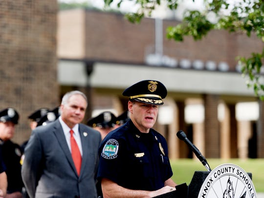 Knoxville Police Chief David Rausch speaks during a press conference on new safety measures being implemented across Knox County Schools at South Doyle Middle School in Knoxville, Tennessee on Thursday, July 27, 2017. Officials presented information about enhanced bus safety, school zone safety and school security measures beginning this upcoming school year.