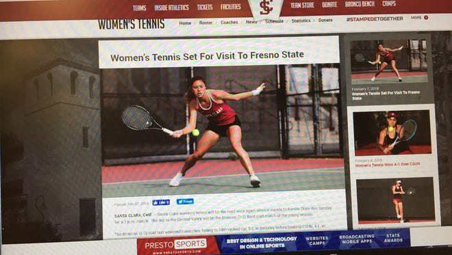 Nadine Del Carmen, born and raised on Guam and now playing NCAA Division I tennis for Santa Clara University, is featured on the front page of her sport's section on the school's official web site.