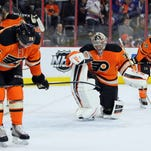 The Flyers gave up a game-tying goal with 12.9 seconds left in the third period and later lost in a shootout.