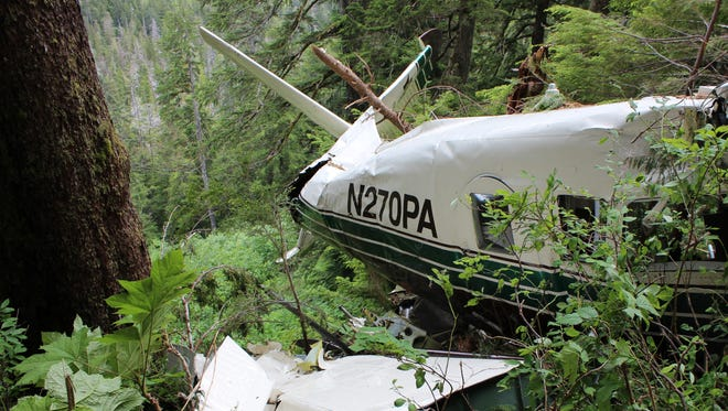 The wreckage of a sightseeing flight that crashed June 25, 2015, near Ketchikan, Alaska.