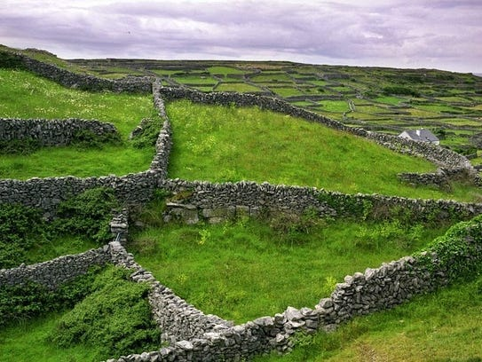 A view of the lattice work of stone fences and fields