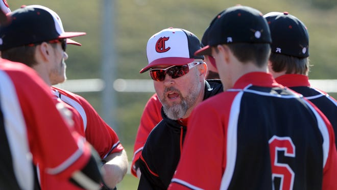 Crooksville baseball head coach Shawn Chamberlin talks to his team during a game in 2016. His resignation from the position was accepted at last week's board meeting.