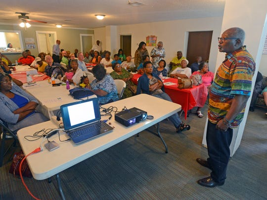 Robert Bullard, professor of urban planning and environmental science at Texas Southern University, speaks Saturday, Aug. 12, 2017, during the Unity in the Family Ministry Environmental Justice Forum at All Faith Community Church.
