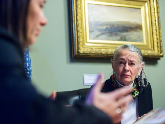 Sen. Alice Nitka, D-Windsor, listens as Chittenden County States Attorney Sarah George, left, testifies in favor of a bill that would establish safe injection sites before the Senate Judiciary Committee at the Statehouse in Montpelier on Thursday, January 4, 2018.