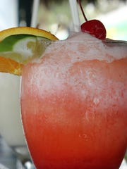 The rum runner is with mango, strawberry and rum.