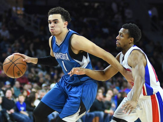 Guard Tyus Jones averaged 4.8 assists and 0.7 turnovers in 23 minutes per game last season with the Timberwolves.
