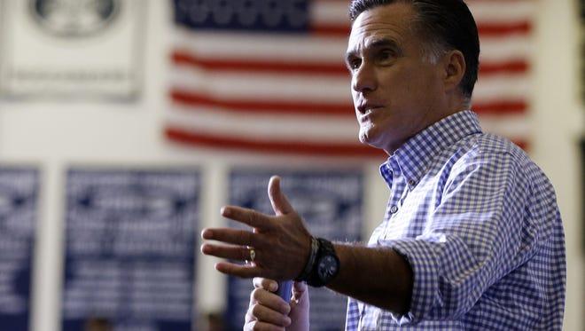 Former Republican presidential candidate and former Massachusetts Gov. Mitt Romney speaks in Ohio, Tuesday, Oct. 30, 2012