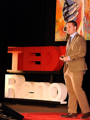 Zach Karimol speaks at TEDx June 6, 2014, at the Lear Theater.