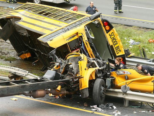 A school bus carrying middle school students from Paramus was ripped from its chassis in an accident with a dump truck on Route 80 west. May 17, 2018. Mount Olive, NJ