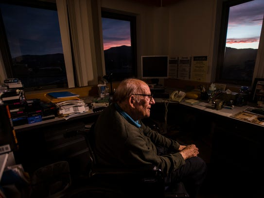 Bill Doyle in his office at Johnson State College.