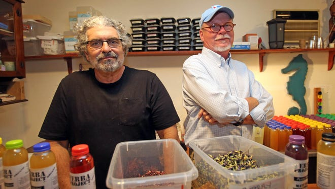 Manni Areces, left, of White Plains and Ned Visser of Nyack who created Yerba Project are photographed in White Plains on July 25, 2016.