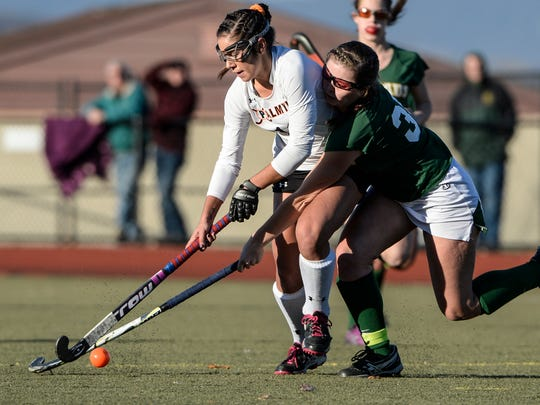 Erin Huffman. left, and her Palmyra field hockey teammates fell one win short of a state title in an otherwise remarkably successful fall that featured division, conference and district championships.