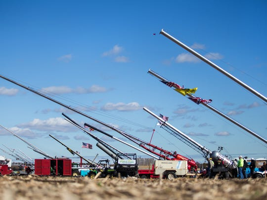 Air canons sit at the ready at Punkin Chunkin in Bridgeville, Del. on Sunday morning, November 3, 2013.