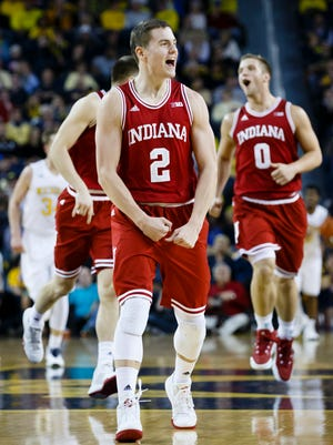 Indiana Hoosiers guard Nick Zeisloft (2) reacts to a basket in the first half against the Michigan Wolverines t Crisler Center.