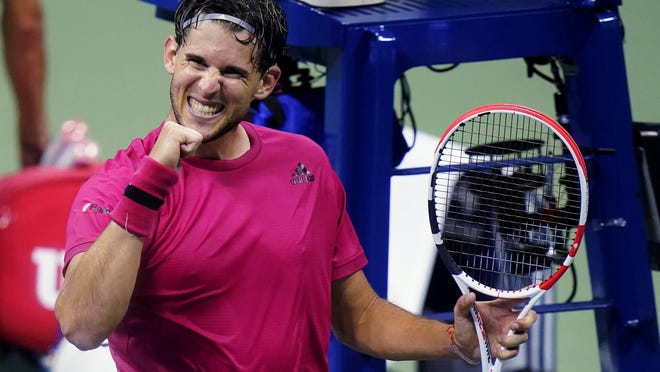 Dominic Thiem pumps his fist after defeating Alex de Minaur during the quarterfinal round of the US Open tennis championships on Wednesday.