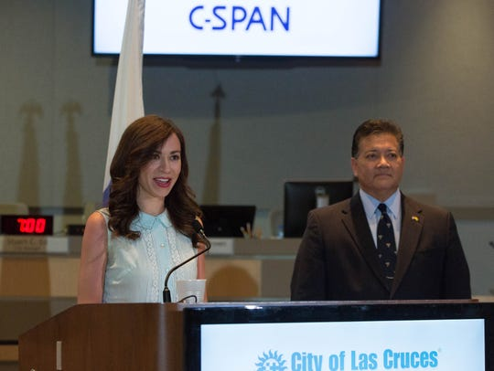 Ashley Hill, a producer and community relations representative with C-Span, gives a few remarks during a press conference at the Las Cruces City Hall, along side Ken Miyagishima, mayor of Las Cruces, Monday June 4, 2018