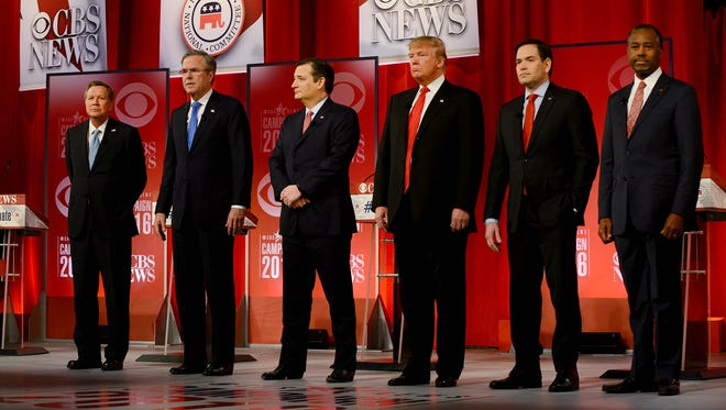 Republican presidential hopefuls (from left) John Kasich, Jeb Bush, Ted Cruz, Donald Trump, Marco Rubio and Ben Carson are introduced during last Saturday's Republican debate.