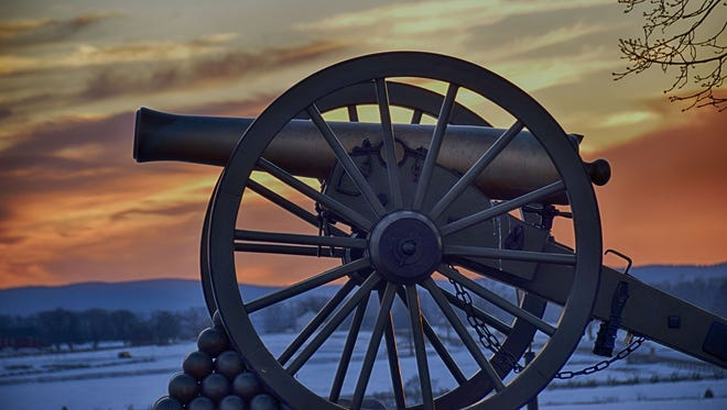 "Melanie Briggs of Carroll Valley submitted this photo to the Evening Sun Nature and Scenery gallery Jan. 31. Briggs writes, ""Cannons in the snow at sunset-Gettysburg Battlefield"""