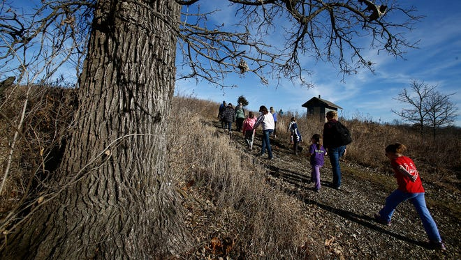 Unusually warm weather greeted hikers as they explored the landscape around the Annett Nature Center. The Warren County Conservation Board hosted the first hike of 2019 at the Annett Nature Center on Jan. 5.