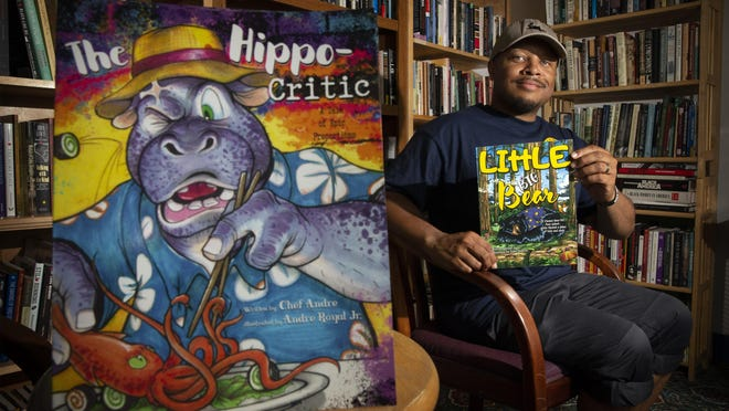 "Andre Royal Sr., has published ""The Hippo-Critic"" and ""Little Big Bear"" which were both illustrated by his son, Andre Royal Jr. [Andy Nelson/The Register-Guard] - registerguard.com"